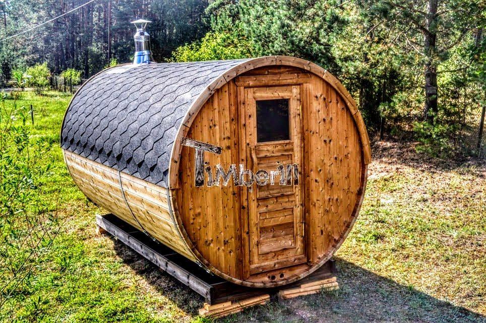 Fass-Sauna mit Holzofen Harvia