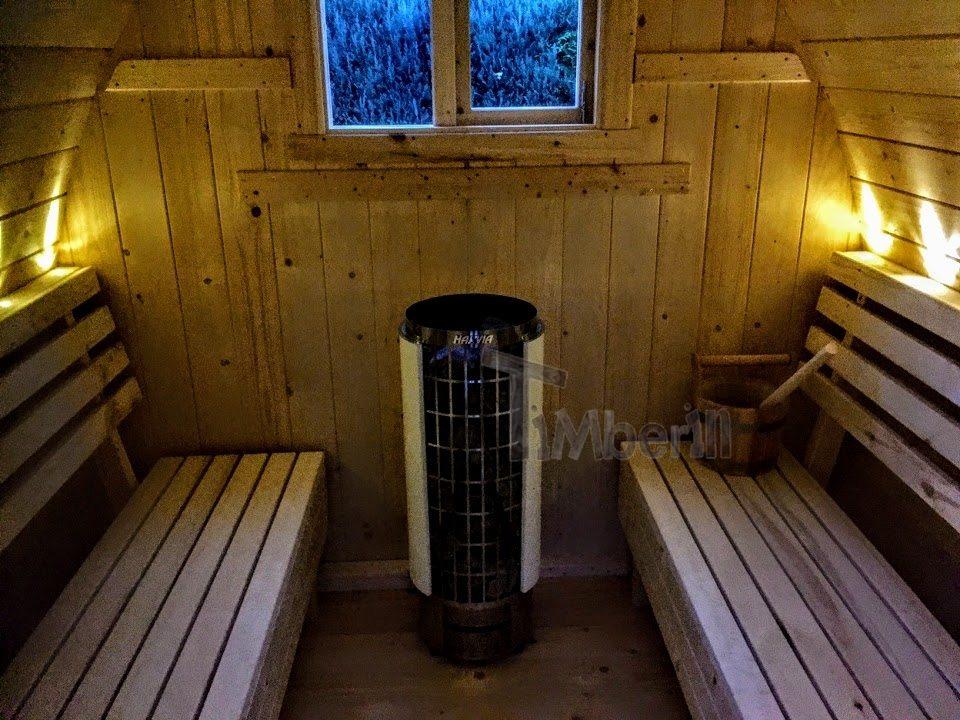 DIY Outdoor-Sauna-Projekt mit LED-Leuchten und elektrische Harvia Cilindro Heizung