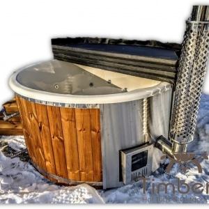 Badezuber Badefass Hot Tube mit Whirlpool Holzofen - TimberIN